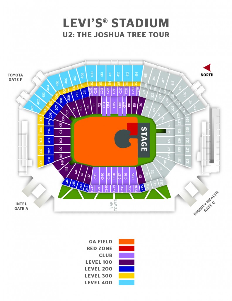 Levi's® Stadium U2: The Joshua Tree Tour Seating Map