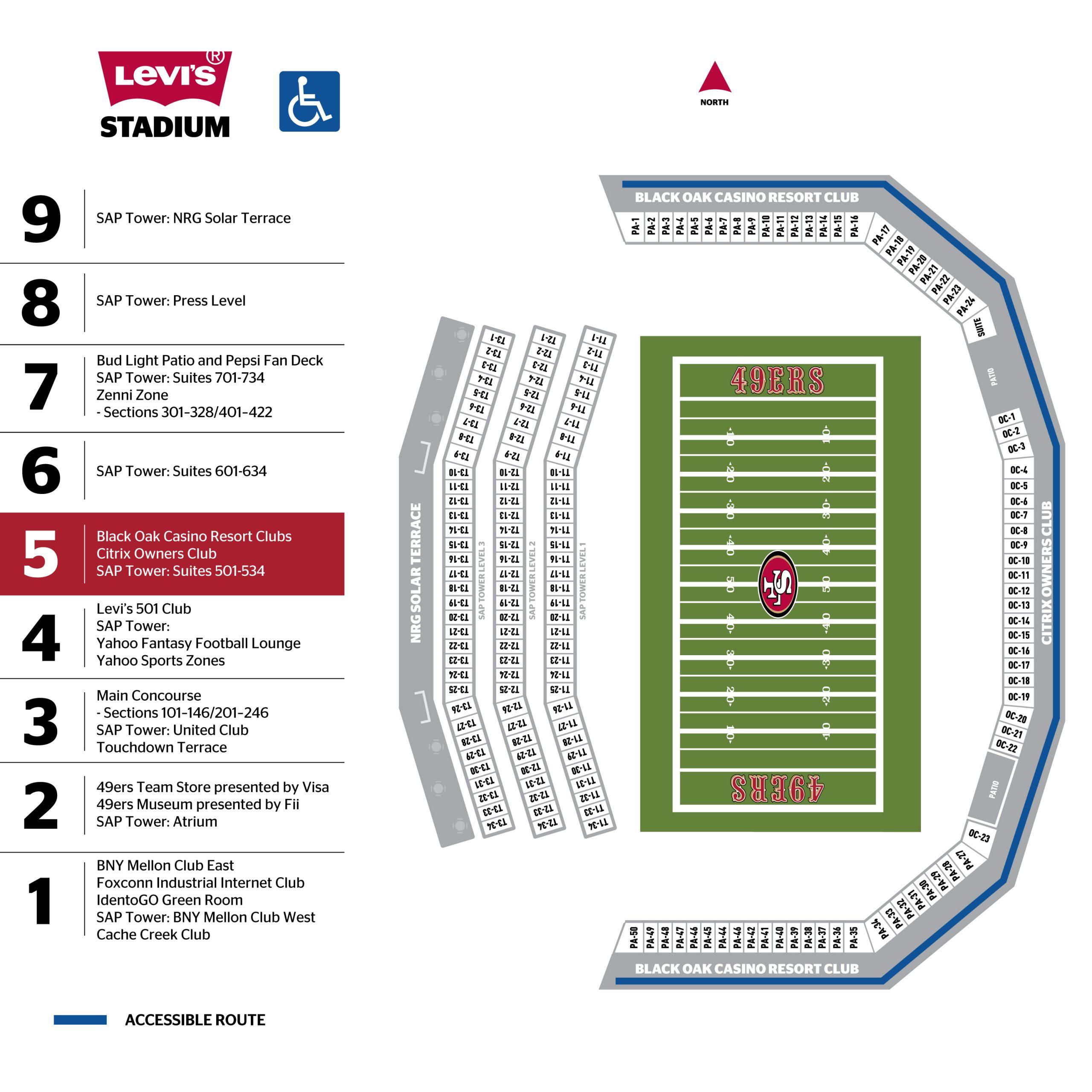 Levi's® Stadium 500 Level Map