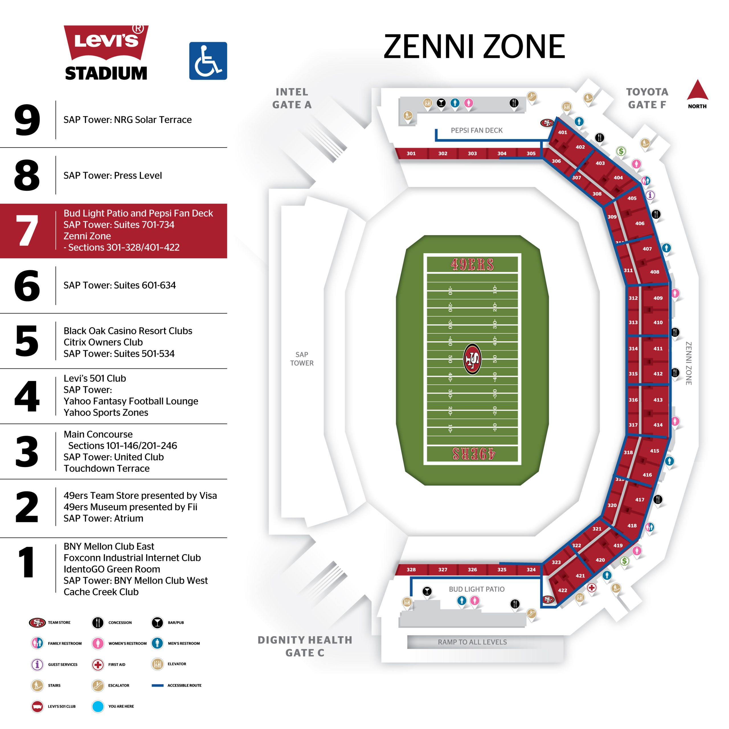 Levi's® Stadium 700 Level Map